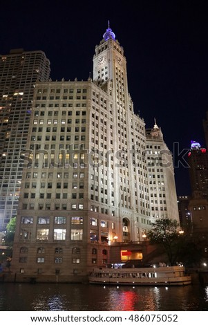 Chicago building at night