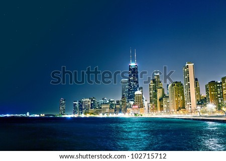 Chicago by night - stock photo