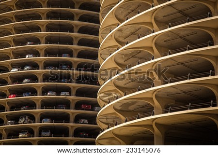 Chicago car park building - stock photo