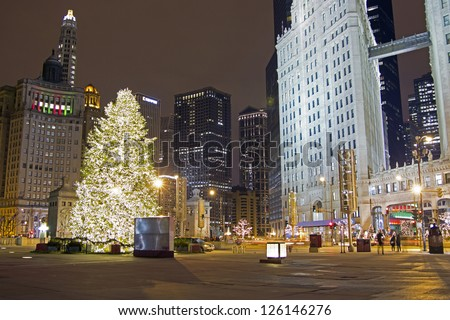 Chicago Christmas Tree on the Magnificent Mile - North Michigan Avenue - stock photo