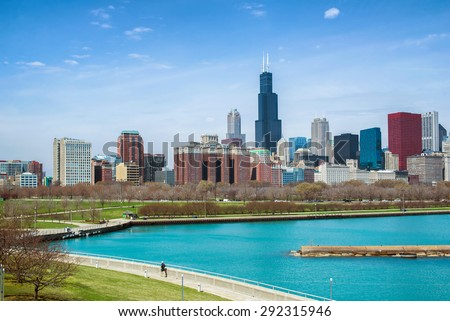 Chicago city at day time - stock photo