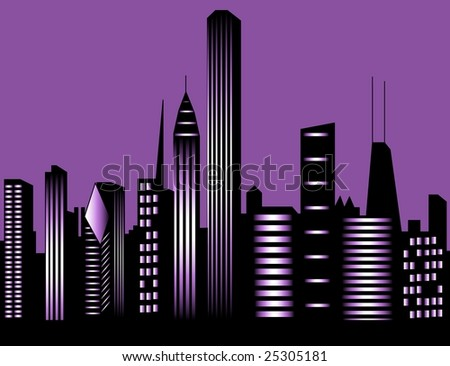 Chicago city at night - stock photo