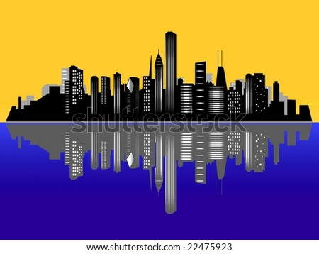 Chicago city skyline at sunset / sunrise - stock photo