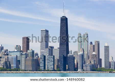 Chicago city skyline by the lake - stock photo