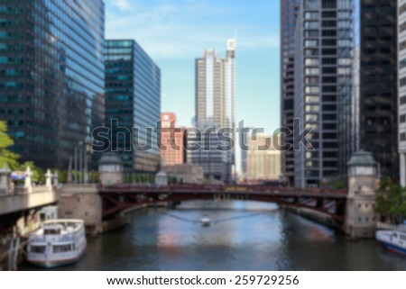 Chicago cityscape blurred background. - stock photo