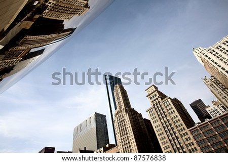 Chicago Cityscape downtown Millenium Park Michigan Avenue The Bean - stock photo