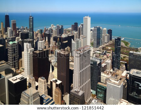 Chicago downtown aerial panorama view with skyscrapers and city skyline at Michigan lakefront. - stock photo