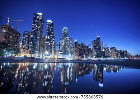 Chicago Downtown and Lake Michigan at Night