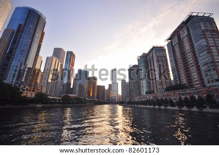 Chicago Downtown Architecture - stock photo