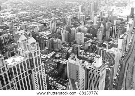 Chicago downtown area - vintage style black and white photo - stock photo