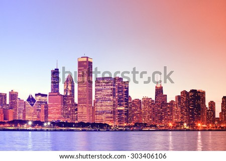 Chicago downtown at sunset with instagram color processing filter - stock photo