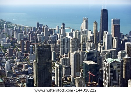 Chicago Downtown Bird Eye View. Hancock Tower on Right and Lake Michigan. Windy City Panorama. Chicago, Illinois, USA. - stock photo