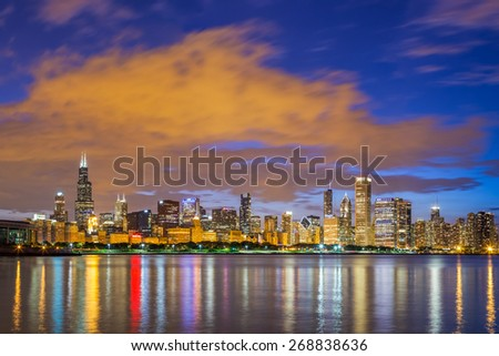 Chicago downtown skyline and lake michigan at night, Illinois - stock photo