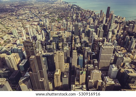 Chicago Downtown Skyscrapers aerial high angle view. Vintage colors