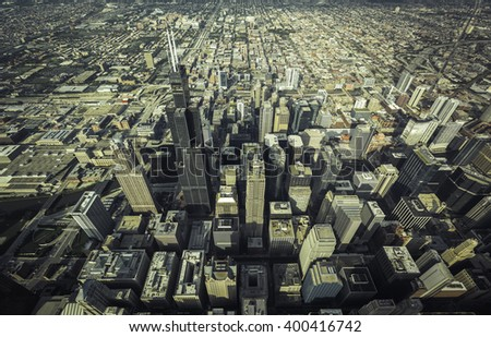 Chicago Downtown skyscrapers overhead high angle view
