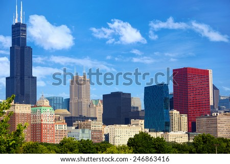 Chicago downtown urban skyscrapers, IL, USA - stock photo