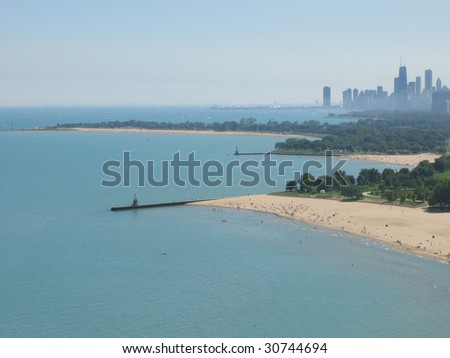Chicago downtown, view from north skyscraper - stock photo