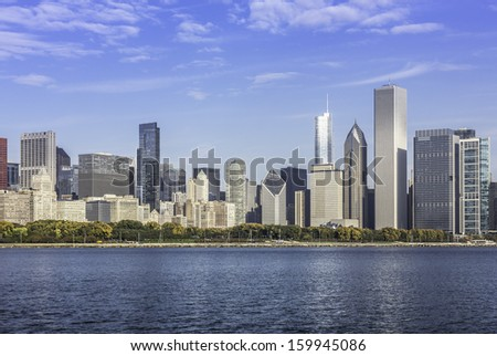 Chicago downtown view in fall scenery - stock photo