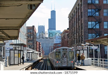 Chicago Elevated Train running into the Loop - stock photo