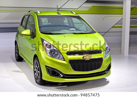 CHICAGO - FEB 9: The 2013 Chevy Spark is displayed at the 2012 Chicago Auto Show Media Preview on February 9, 2012 in Chicago, Illinois. - stock photo