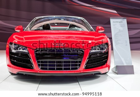 CHICAGO - FEB 8: The 2012 R8 Spyder on display at the 2012 Chicago Auto Show Media Preview on February 8, 2012 in Chicago, Illinois. - stock photo