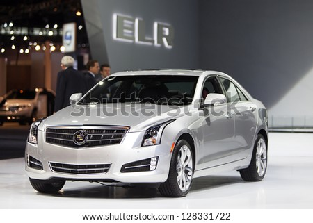CHICAGO - FEBRUARY 8 : A Cadillac luxury sedan on display at the Chicago Auto Show media preview February 8, 2013 in Chicago, Illinois. - stock photo