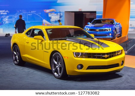 CHICAGO - FEBRUARY 8 : A 2014 Chevy Camaro SS on display at the Chicago Auto Show media preview February 8, 2013 in Chicago, Illinois. - stock photo