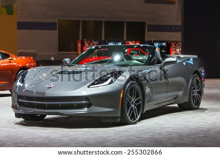 Chicago - February 12: A Chevy Corvette Stingray on display February 12th, 2015 at the 2015 Chicago Auto Show in Chicago, Illinois. - stock photo