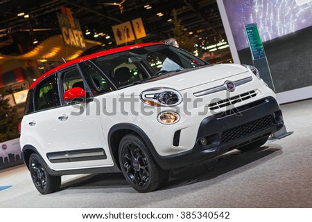 CHICAGO - February 11: A Fiat 500L on display at the Chicago Auto Show media preview February 11, 2016 in Chicago, Illinois. - stock photo