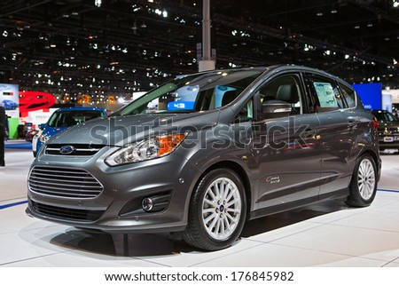 CHICAGO - FEBRUARY 7 :A Ford C-Max hybrid at the Chicago Auto Show media preview February 7, 2014 in Chicago, Illinois. - stock photo
