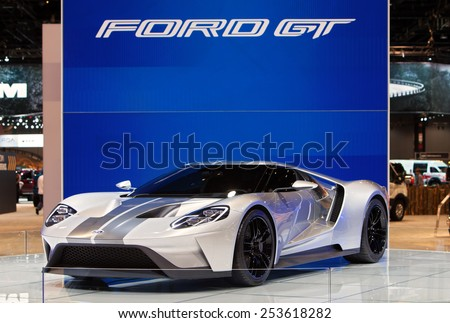 Chicago - February 13: A Ford GT on display February 13th, 2015 at the 2015 Chicago Auto Show in Chicago, Illinois. - stock photo