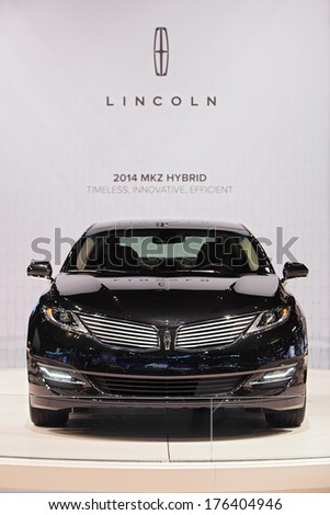 CHICAGO - FEBRUARY 7 : A 2014 Lincoln MKZ Hybrid on display at the Chicago Auto Show media preview February 7, 2014 in Chicago, Illinois. - stock photo