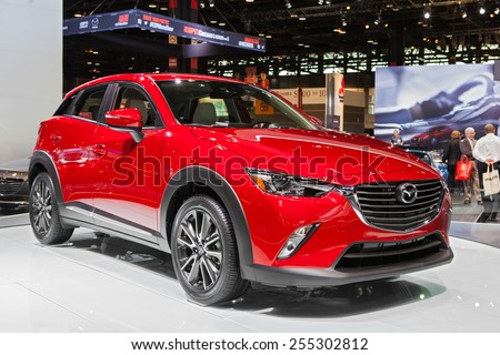 Chicago - February 13: A Mazda CX-9 on display February 13th, 2015 at the 2015 Chicago Auto Show in Chicago, Illinois. - stock photo