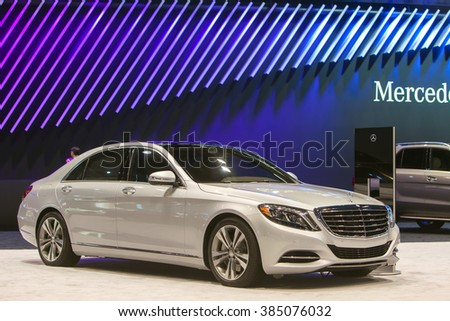 CHICAGO - February 11: A Meredes Benz CLK sedan on display at the Chicago Auto Show media preview February 11, 2016 in Chicago, Illinois.