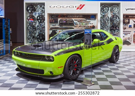 Chicago - February 13: A Mopar modified Dodge Challenger on display February 13th, 2015 at the 2015 Chicago Auto Show in Chicago, Illinois. - stock photo