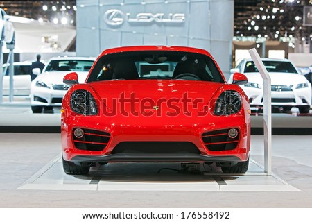 CHICAGO - FEBRUARY 7 : A Porsche 911 at the Chicago Auto Show media preview February 7, 2014 in Chicago, Illinois. - stock photo