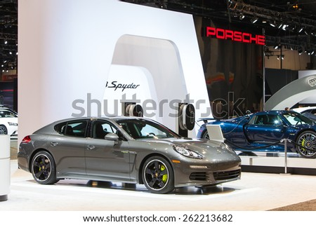 Chicago - February 12: A Porsche Panamera Hybrid on display February 12th, 2015 at the 2015 Chicago Auto Show in Chicago, Illinois. - stock photo