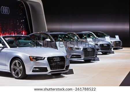 Chicago - February 12: A row of Audis on display February 12th, 2015 at the 2015 Chicago Auto Show in Chicago, Illinois. - stock photo