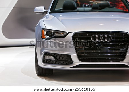 Chicago - February 13: An Audi A5 Cabriolet on display February 13th, 2015 at the 2015 Chicago Auto Show in Chicago, Illinois.