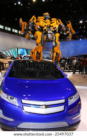 CHICAGO-FEBRUARY 18: From The Transformers 2 movie:BUMBLEBEE, the AUTOBOT based on Chevrolet Camaro concept:17 feet tall and 13 feet wide.Displayed at the Autoshow 2009 in Chicago - stock photo