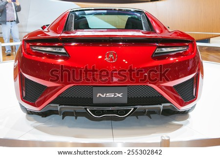 Chicago - February 13:Rear view of an Acura NSX February 13th, 2015 at the 2015 Chicago Auto Show in Chicago, Illinois. - stock photo