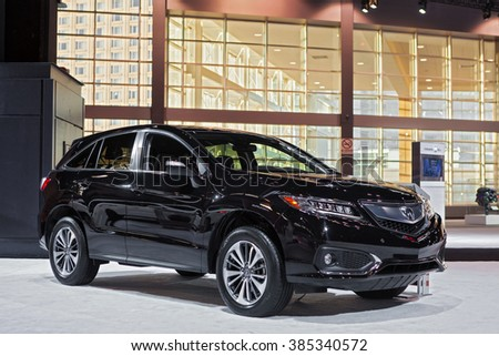 CHICAGO - February 11: The 2016 Acura MDX on display at the Chicago Auto Show media preview February 11, 2016 in Chicago, Illinois. - stock photo