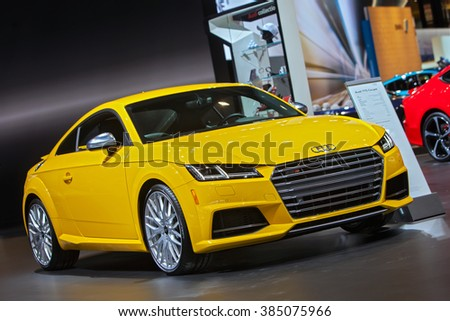 CHICAGO - February 11: The 2016 Audi TTS Coupe on display at the Chicago Auto Show media preview February 11, 2016 in Chicago, Illinois. - stock photo