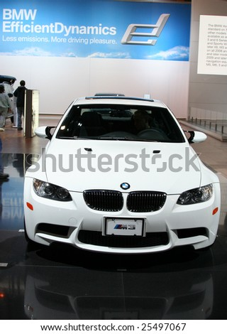 CHICAGO - FEBRUARY 18 : The BMW M3 Coupe is wider than the production car; it's also lighter, weighing in at 2535 lbs. Its 4.0-liter. Displayed at the Autoshow 2009 on Febraury 18, 2009  in Chicago,IL - stock photo