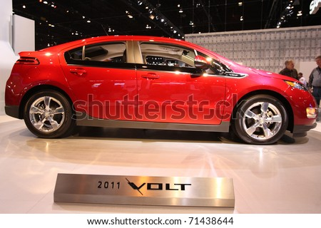 CHICAGO - FEBRUARY 15: The Chevy Volt presentation at the Annual Chicago Auto Show on February 15, 2011 in Chicago, IL.