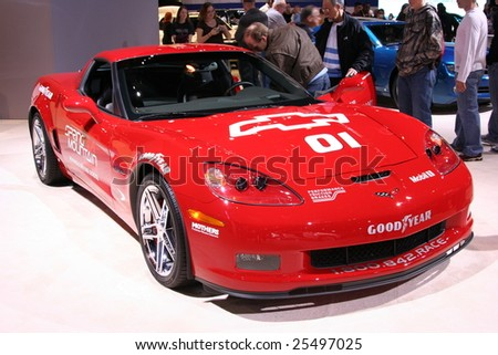 CHICAGO - FEBRUARY 18 : The 505-horsepower Corvette Z06 Coupe,,is the spotlight this year, displayed in the Auto Show on February 18, 2009 in Chicago, IL - stock photo