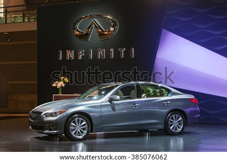CHICAGO - February 11: The 2016 Inifiniti Q60 on display at the Chicago Auto Show media preview February 11, 2016 in Chicago, Illinois. - stock photo