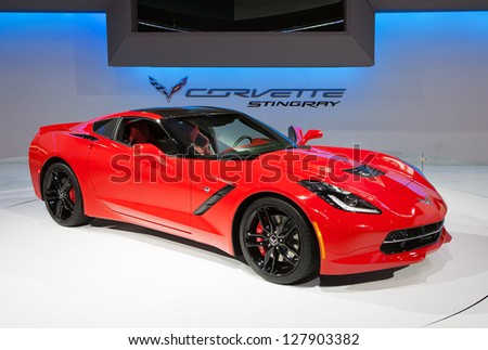 CHICAGO - FEBRUARY 7 : The new Chevy Corvette Stingray on display at the Chicago Auto Show media preview February 7, 2013 in Chicago, Illinois. - stock photo