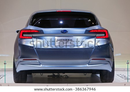 CHICAGO - February 11: The Subaru Impreza 5-Door concept on display at the Chicago Auto Show media preview February 11, 2016 in Chicago, Illinois. - stock photo