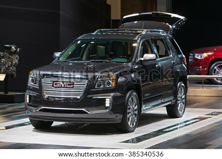 CHICAGO - February 11: The 2017 Yukon Denali on display at the Chicago Auto Show media preview February 11, 2016 in Chicago, Illinois. - stock photo